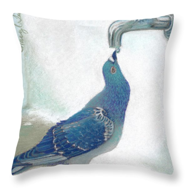 Frank's Pigeon Throw Pillow by Tracy L Teeter