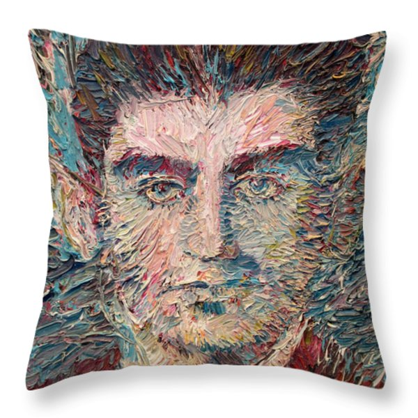 Franz Kafka Oil Portrait Throw Pillow by Fabrizio Cassetta