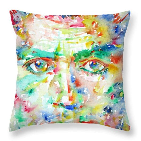 Franz Kafka Watercolor Portrait Throw Pillow by Fabrizio Cassetta
