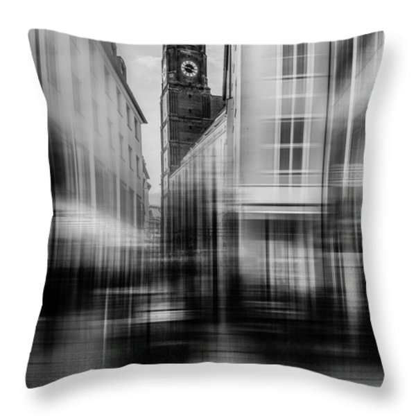Frauenkirche - Muenchen V - Bw Throw Pillow by Hannes Cmarits