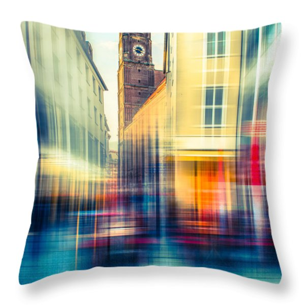 Frauenkirche - Munich V - vintage Throw Pillow by Hannes Cmarits