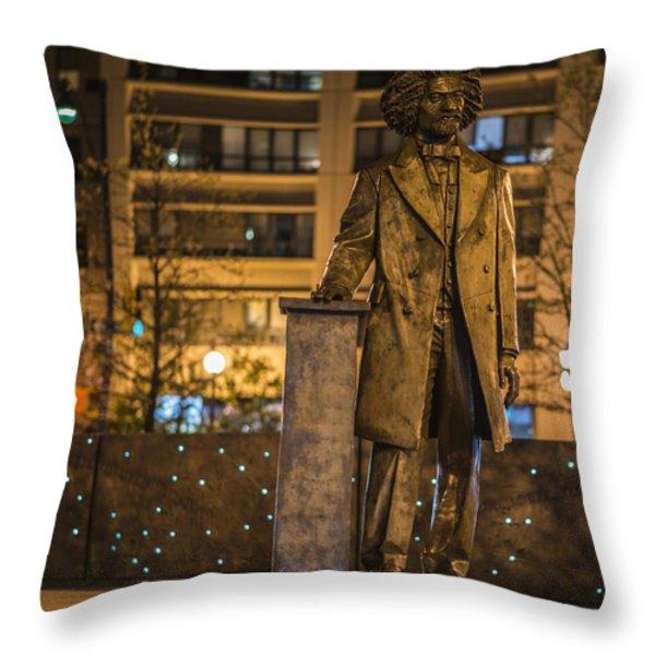 Frederick Douglass Throw Pillow by Theodore Jones