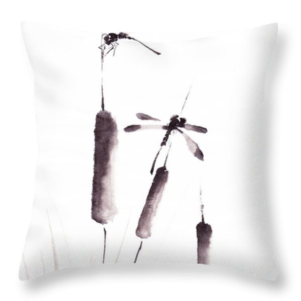 Free As The Dragonflies Throw Pillow by Oiyee  At Oystudio