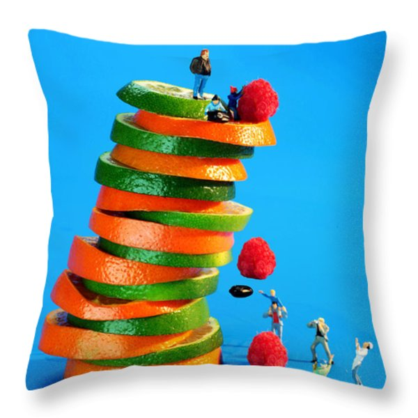 Free Falling Bodies Experiment On Fruit Tower Throw Pillow by Paul Ge