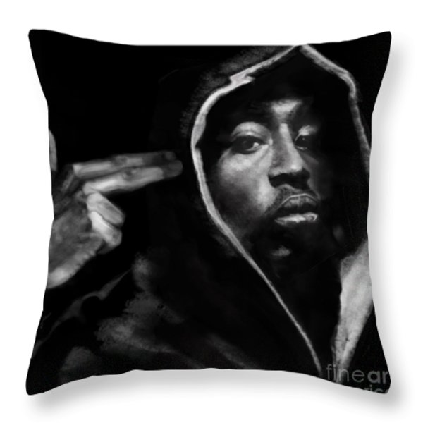 Free Will - 2 Pac Throw Pillow by Reggie Duffie