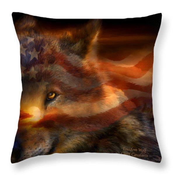Freedom Wolf Throw Pillow by Carol Cavalaris