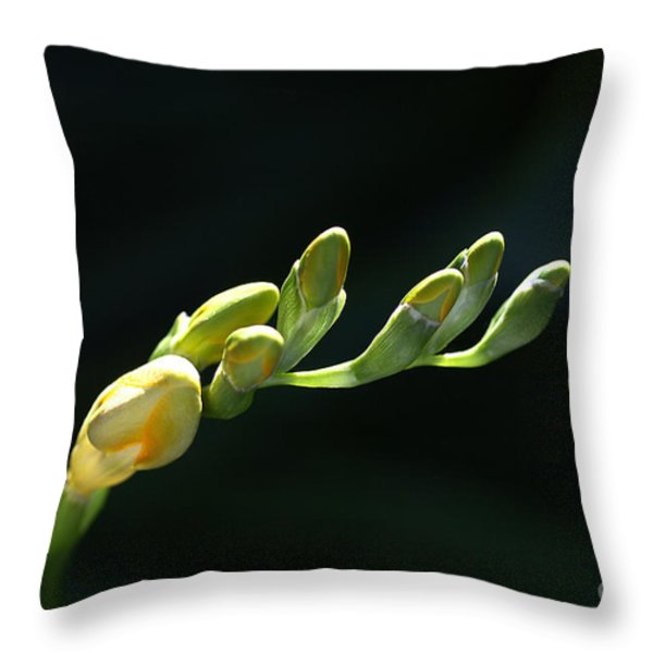 Freesia Fingers Throw Pillow by Joy Watson