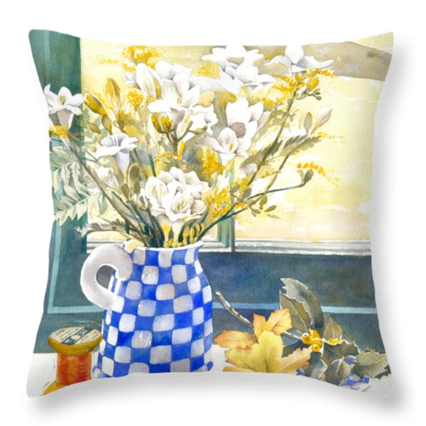 Freesias And Chequered Jug Throw Pillow by Julia Rowntree