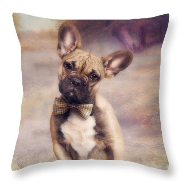 French Bulldog Throw Pillow by Cindy Grundsten