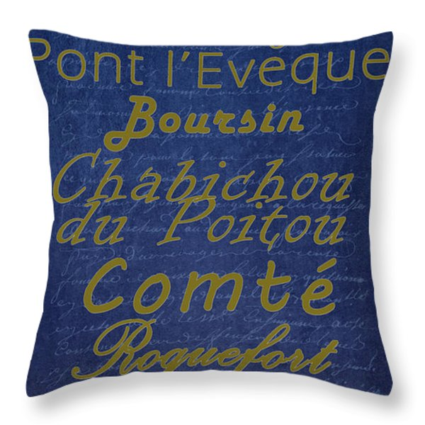 French Cheeses - 2 Throw Pillow by Paulette B Wright