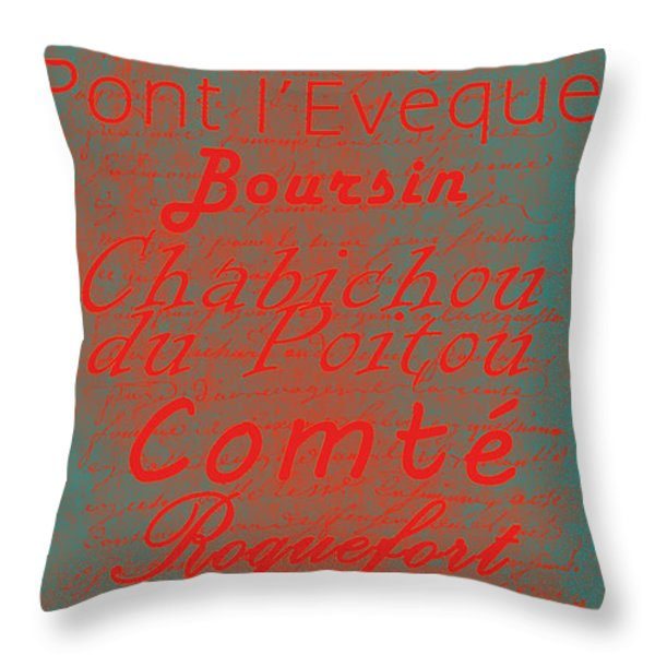 French Cheeses - 5 Throw Pillow by Paulette B Wright
