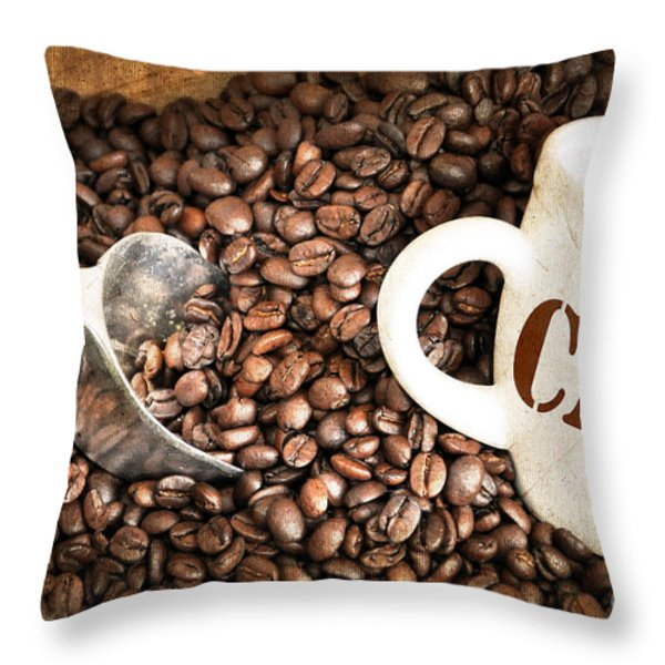 French Coffee Throw Pillow by Delphimages Photo Creations