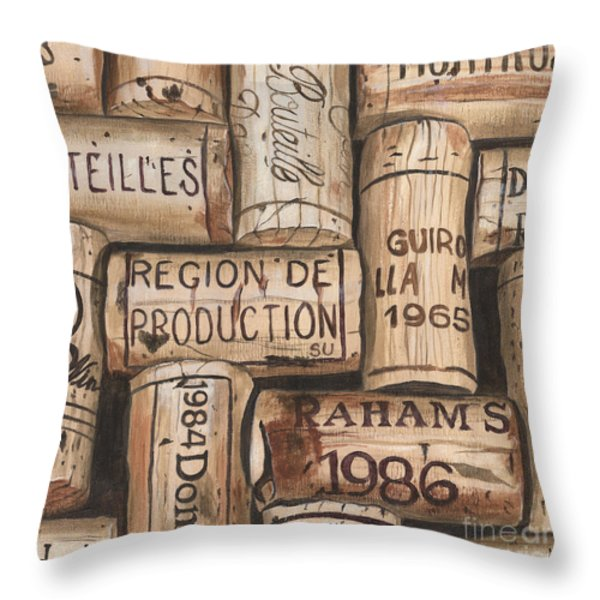 French Corks Throw Pillow by Debbie DeWitt