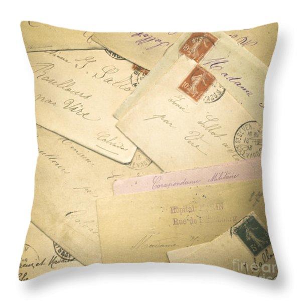 French Correspondence from WW1 #2 Throw Pillow by Jan Bickerton