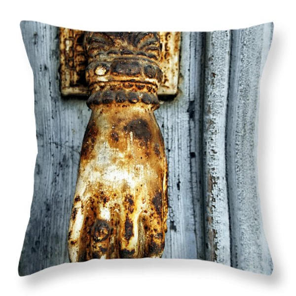 French Door Knocker Throw Pillow by Nomad Art And  Design