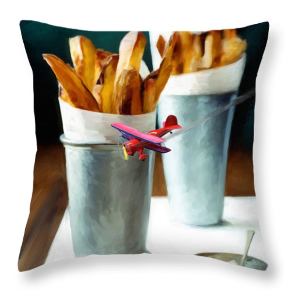 French Fries Fly-By Throw Pillow by Snake Jagger