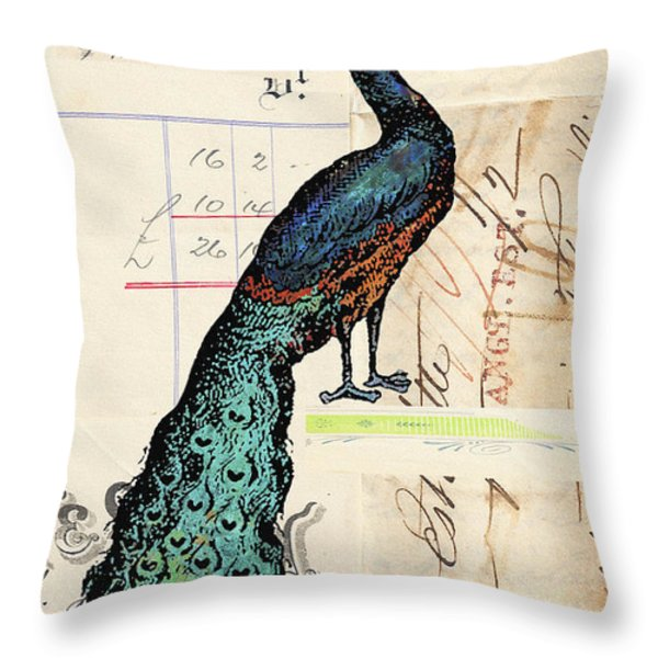 French Peacock Print Throw Pillow by Adspice Studios