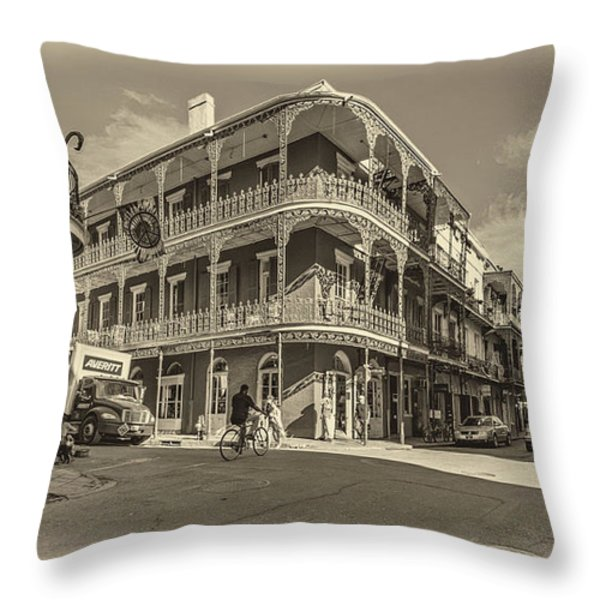 French Quarter Afternoon Sepia Throw Pillow by Steve Harrington