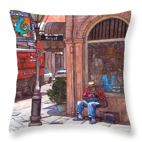 French Quarter Royal St. Throw Pillow by John Boles