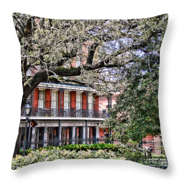 French Quarter Spring Throw Pillow by Olivier Le Queinec