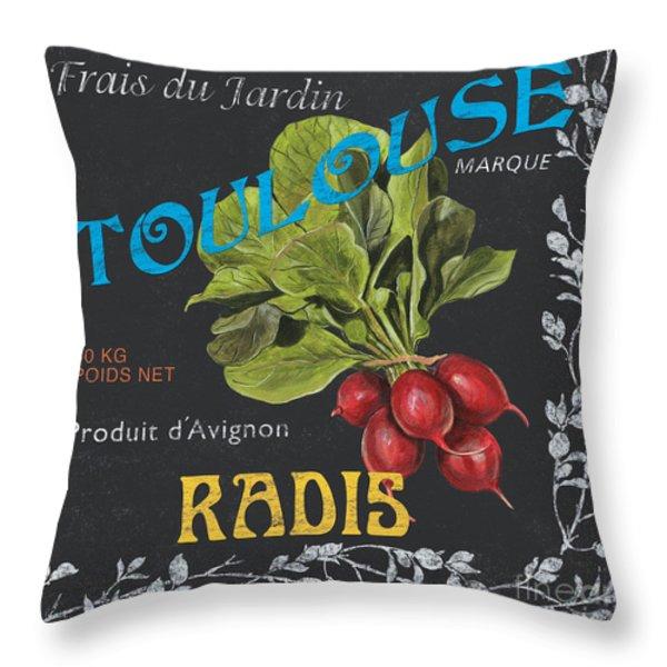French Veggie Labels 3 Throw Pillow by Debbie DeWitt