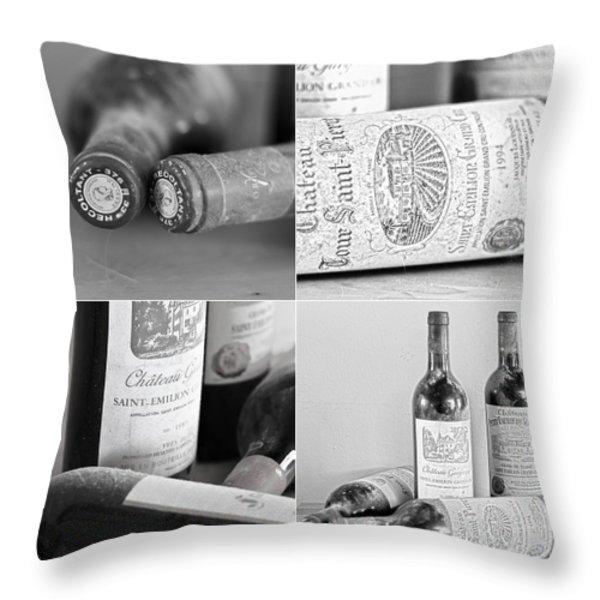 French Wine Collage Throw Pillow by Nomad Art And  Design