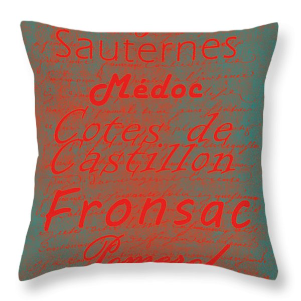 French Wines - 5 Champagne and Bordeaux Region Throw Pillow by Paulette B Wright