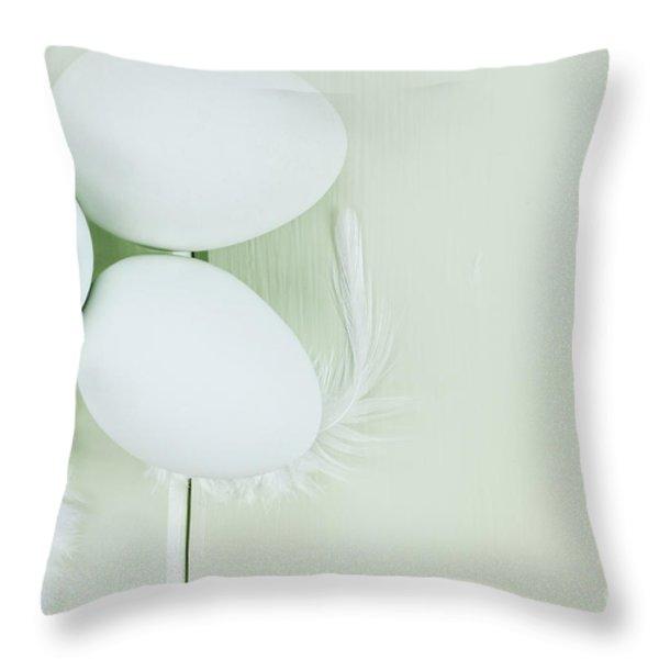 Fresh Ameraucana Eggs And Feathers Throw Pillow by Stephanie Frey