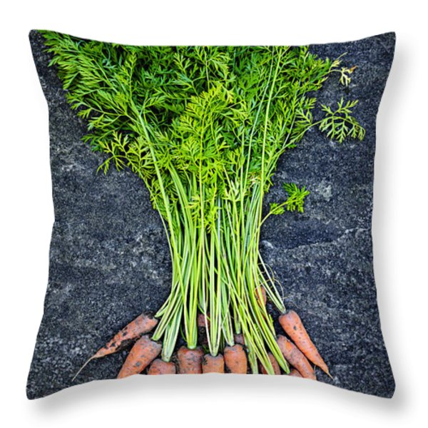 Fresh carrots from garden Throw Pillow by Elena Elisseeva