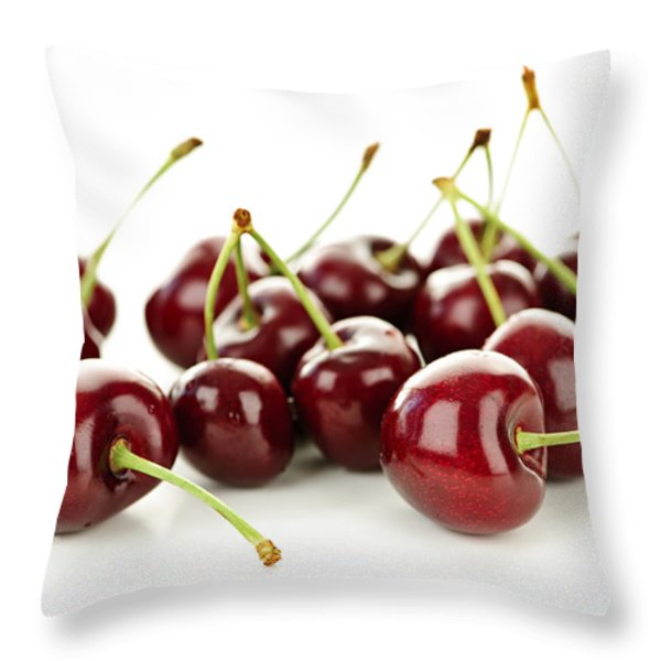 Fresh cherries on white Throw Pillow by Elena Elisseeva
