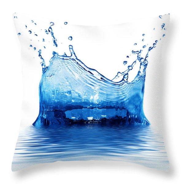 Fresh Clean Water Splash In Blue Throw Pillow by Michal Bednarek