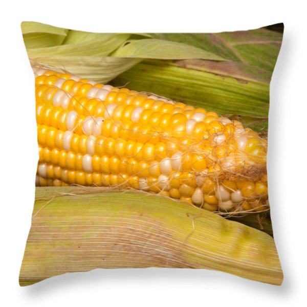 Fresh Corn at Farmers Market Throw Pillow by Teri Virbickis