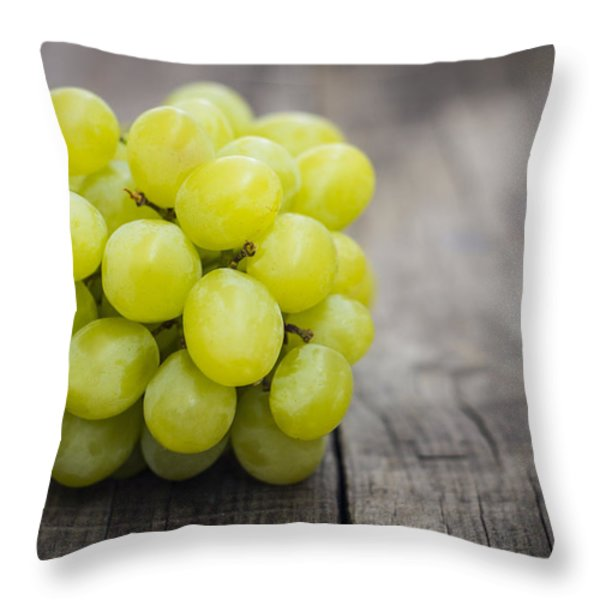 Fresh Green Grapes Throw Pillow by Aged Pixel