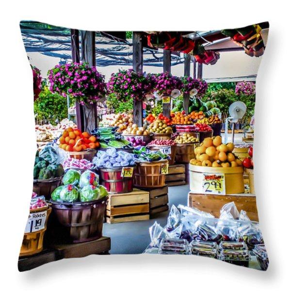 Fresh Market Throw Pillow by Karen Wiles