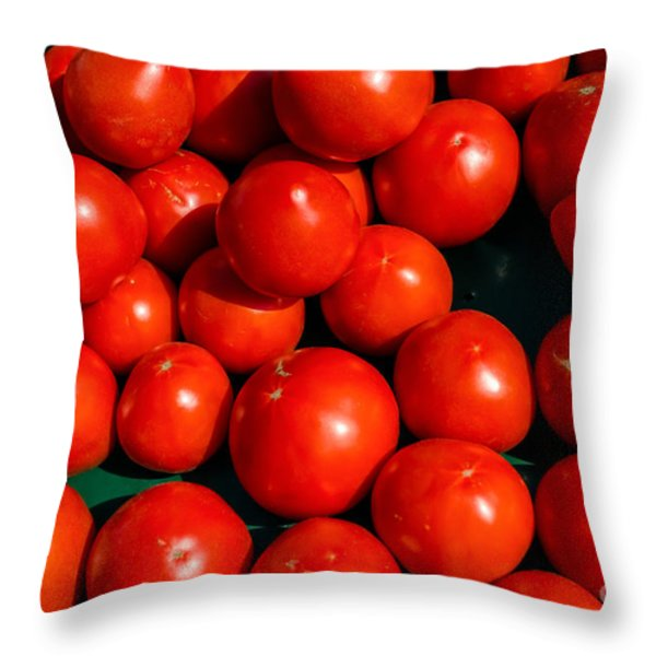 Fresh Ripe Red Tomatoes Throw Pillow by Edward Fielding