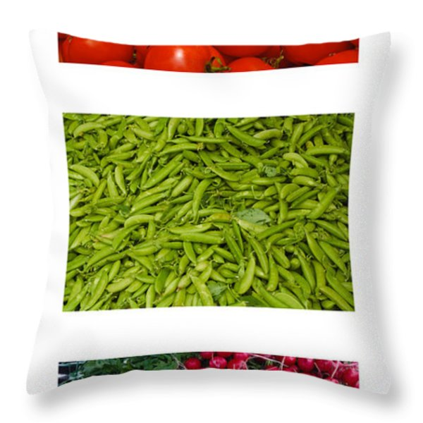 Fresh Vegetable Triptych Throw Pillow by Thomas Marchessault