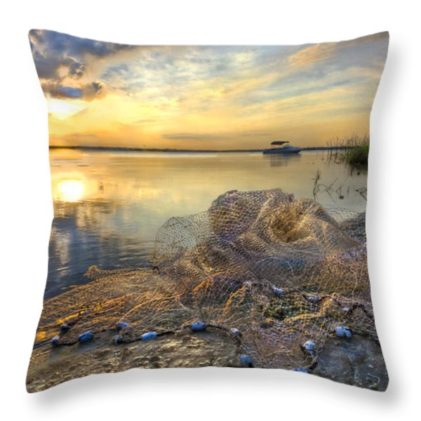 Fresh Water Throw Pillow by Debra and Dave Vanderlaan