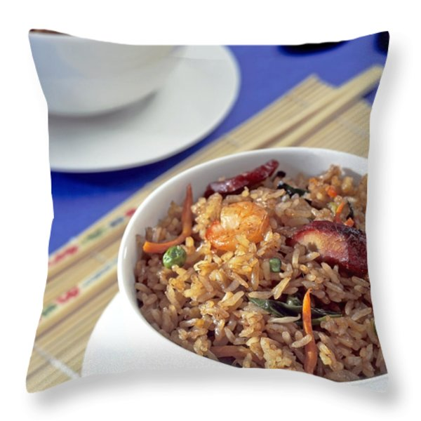 Fried Rice Throw Pillow by Tim Hester