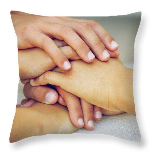 Friends Hands Throw Pillow by Carlos Caetano