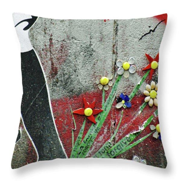 Friendship Flowers Graffiti Art Throw Pillow by AdSpice Studios