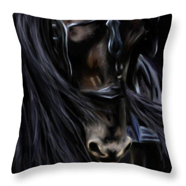 Friesian Spirit Throw Pillow by Michelle Wrighton