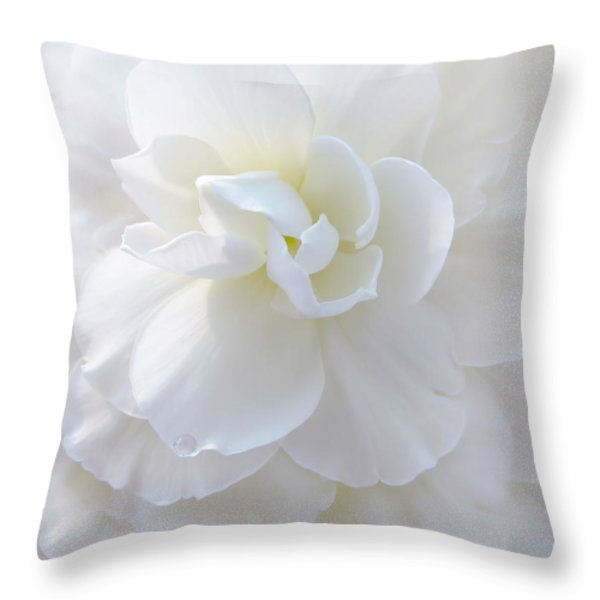 Frilly Ivory Begonia Flower Throw Pillow by Jennie Marie Schell