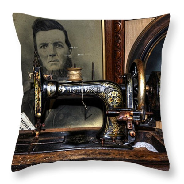 Frister And Rossmann - Old Sewing Machine Throw Pillow by Kaye Menner