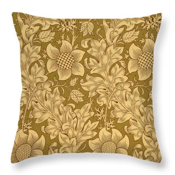 Fritillary Wallpaper Design Throw Pillow by William Morris