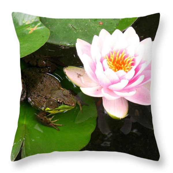 Frog And Lily Throw Pillow by Debbie Finley