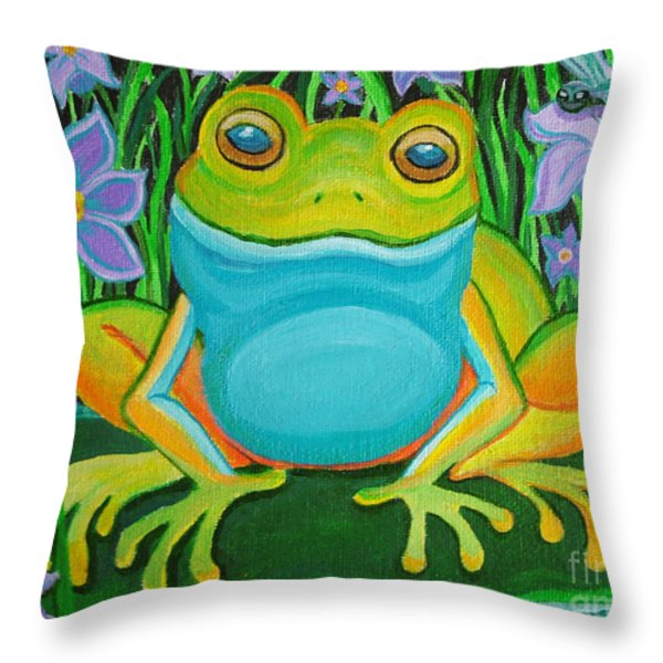 Frog on a lily pad Throw Pillow by Nick Gustafson