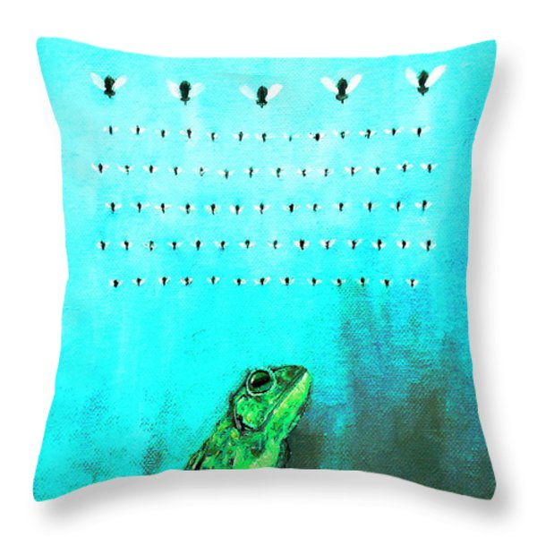 FROG with FLIES in SPACE INVADERS FORMATION Throw Pillow by Fabrizio Cassetta