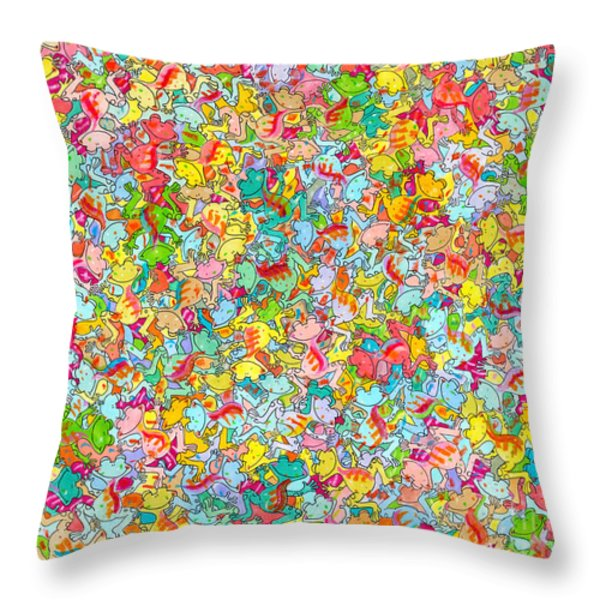 Frogenstein Throw Pillow by Aaron Koster