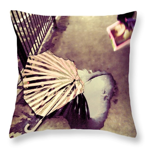 Front Page Story Throw Pillow by Jasna Buncic
