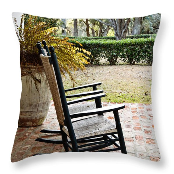 Front Porch Rockers Throw Pillow by Scott Pellegrin